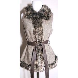 Gaby L Eden Wool Blend Faux Fur Vest